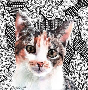 cat painting, how to paint a cat, watercolour and ink cat, how to paint fur babies, how to paint pets