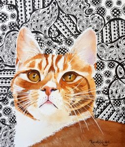 ginger cat painting, how to paint pets