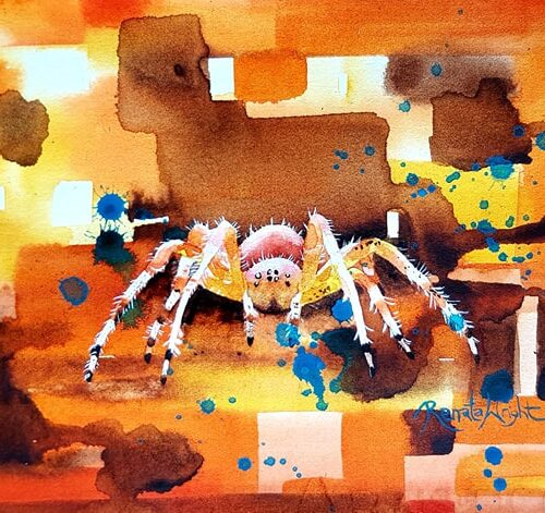 orb spider, orb weaver, watercolour spider, spider art, spider painting, watercolour spider art, arachnophobic, arachnophobia, spider woman,