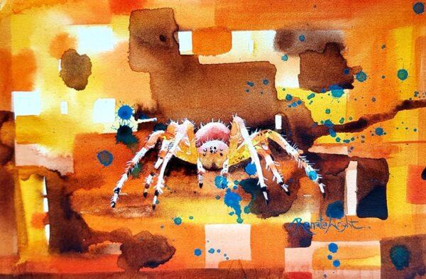 orb spider, orb weaver, watercolour spider, spider art, spider painting, watercolour spider art, arachnophobic, arachnophobia, spider woman,