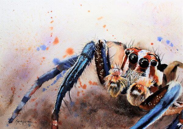 spider art, spider artist, watercolour artist, vegan art, renata wright, renata wright art,